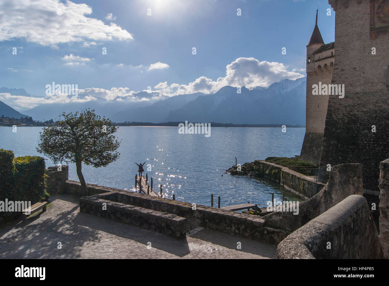 Lake Geneva, the Chillon Castle near Montreux, Switzerland - Stock Image