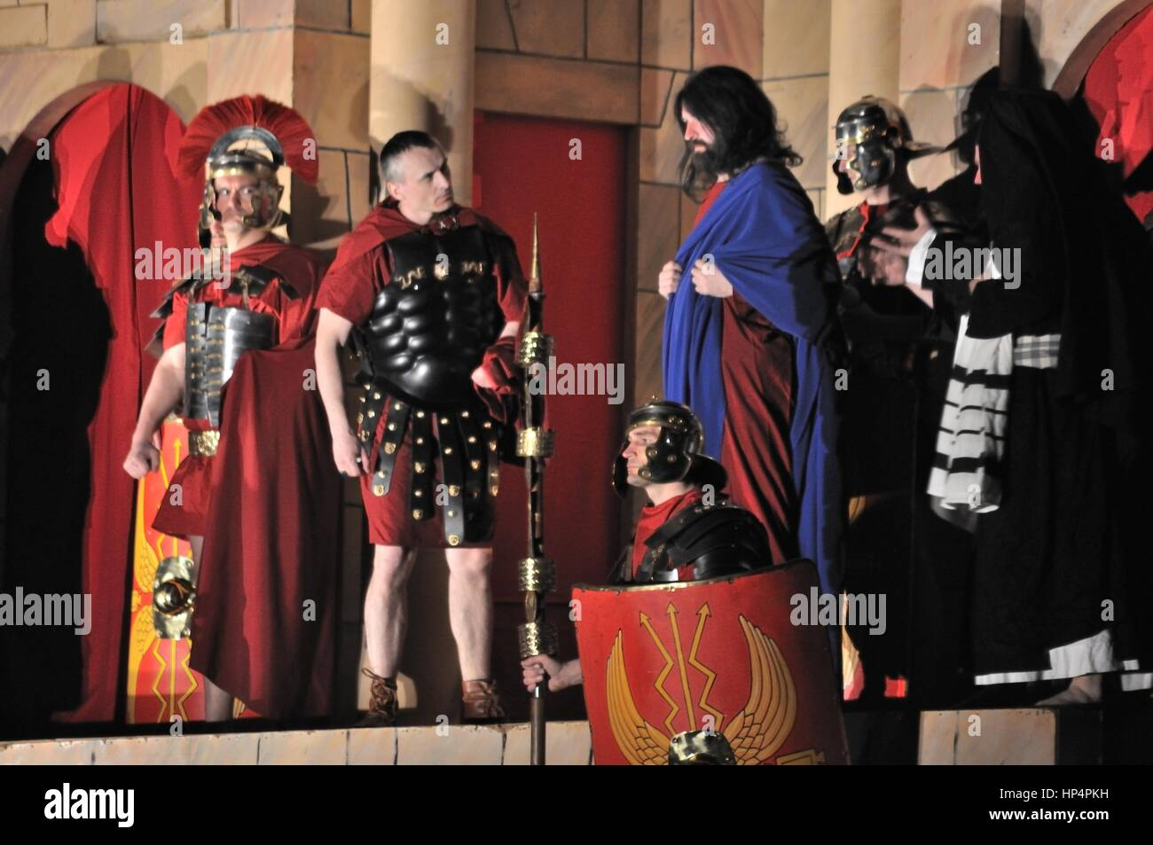 Mystery of the Passion - reenactment scene brought of Jesus to Pilate by the Sanhedrin. Outdoor spectacle, directed - Stock Image