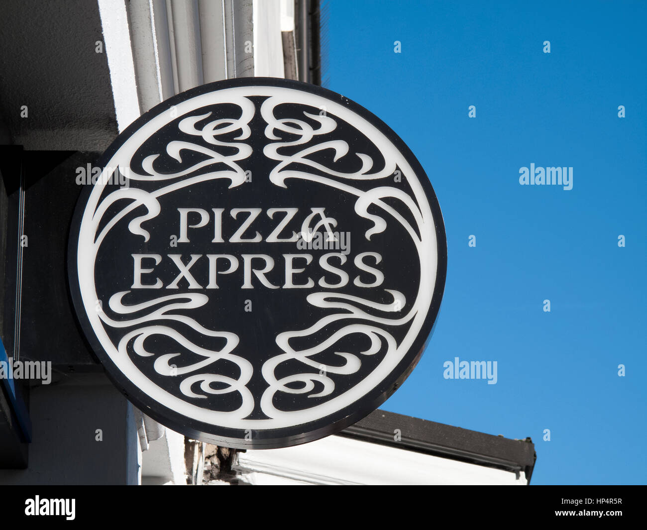 Pizza Express Sign Over Restaurant Founded In 1965 By Peter