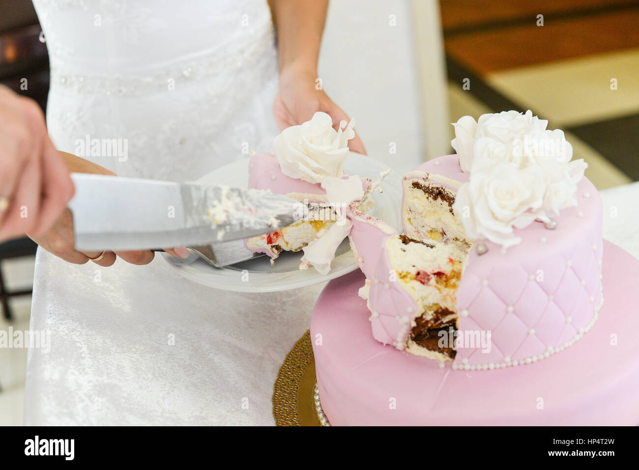 Wedding Cake Marzipan Flower Decoration Stock Photos & Wedding Cake ...