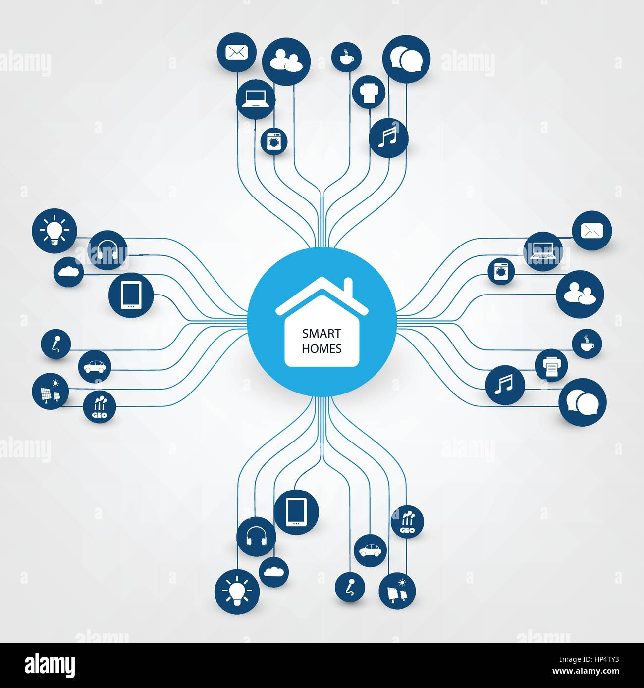 Smart Home Design Concept with Icons - Digital Network Connections ...