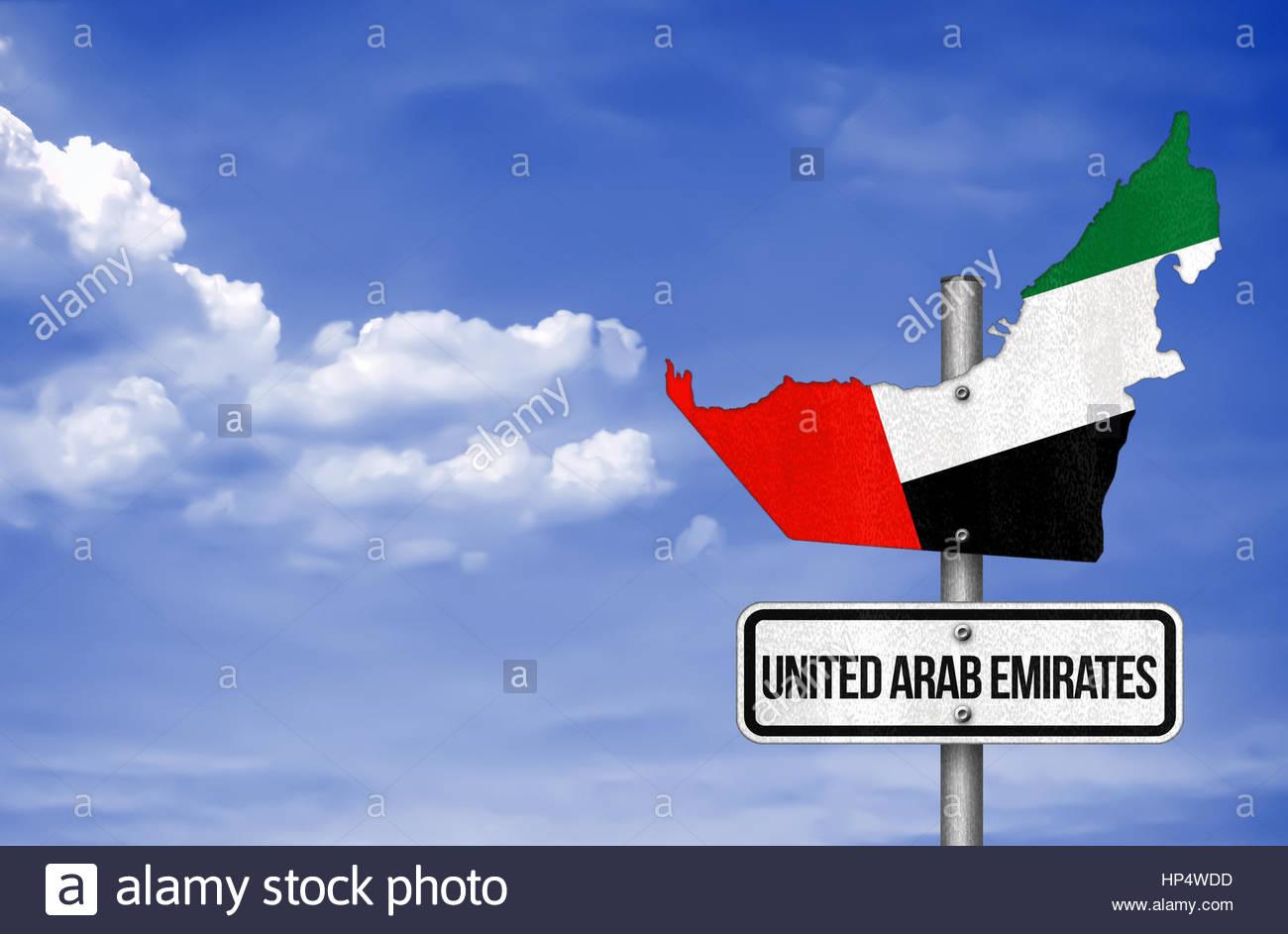 United Arab Emirates - road sign map Stock Photo