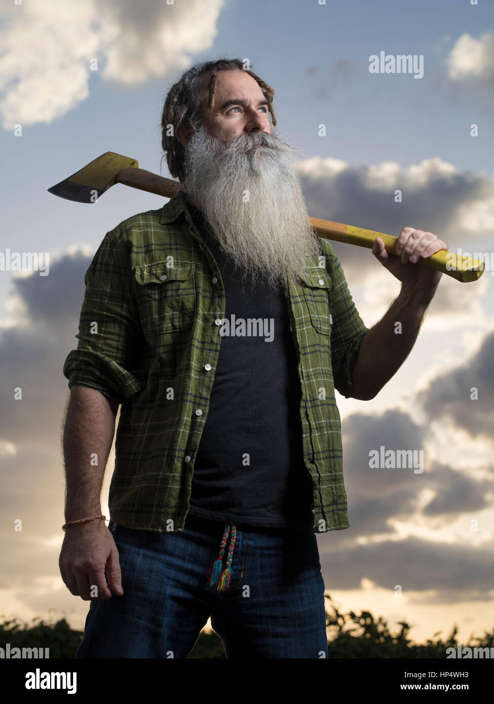 Lumberjack with axe portrait - Stock Image