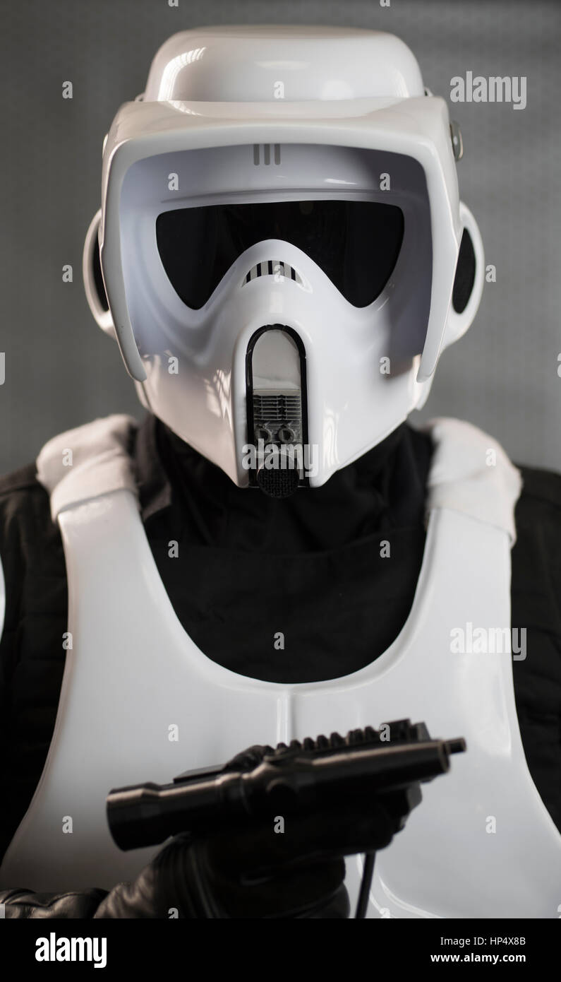 Scout Trooper Costume from Star Wars Return of the Jedi film / movie - Stock Image