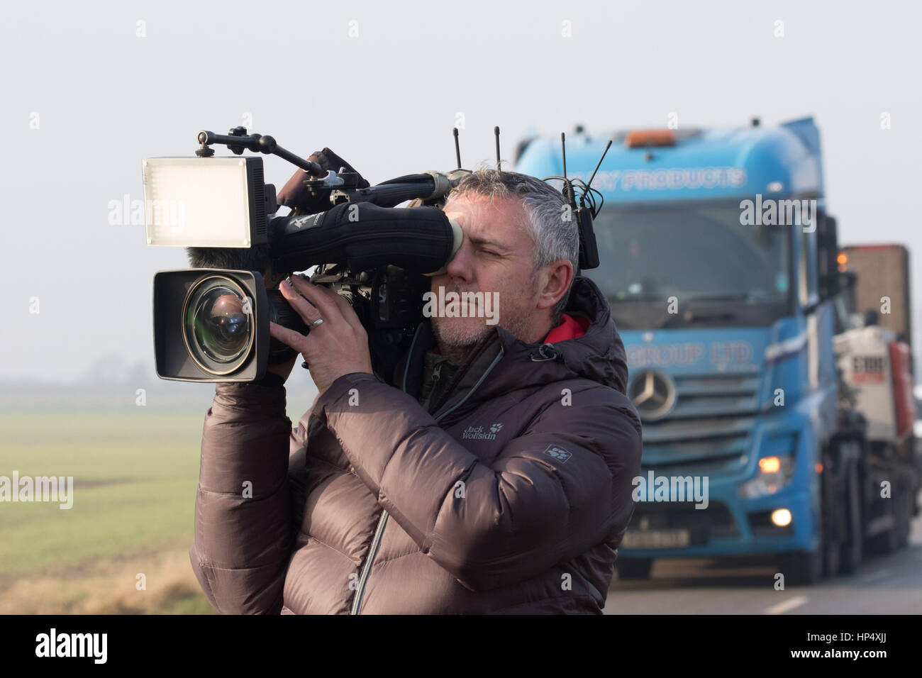TV filming  an outbreak of H5N8 Bird Flu near Boston Lincolnshire  Picture Tim Scrivener 07850 303986 tim@agriphoto.com Stock Photo