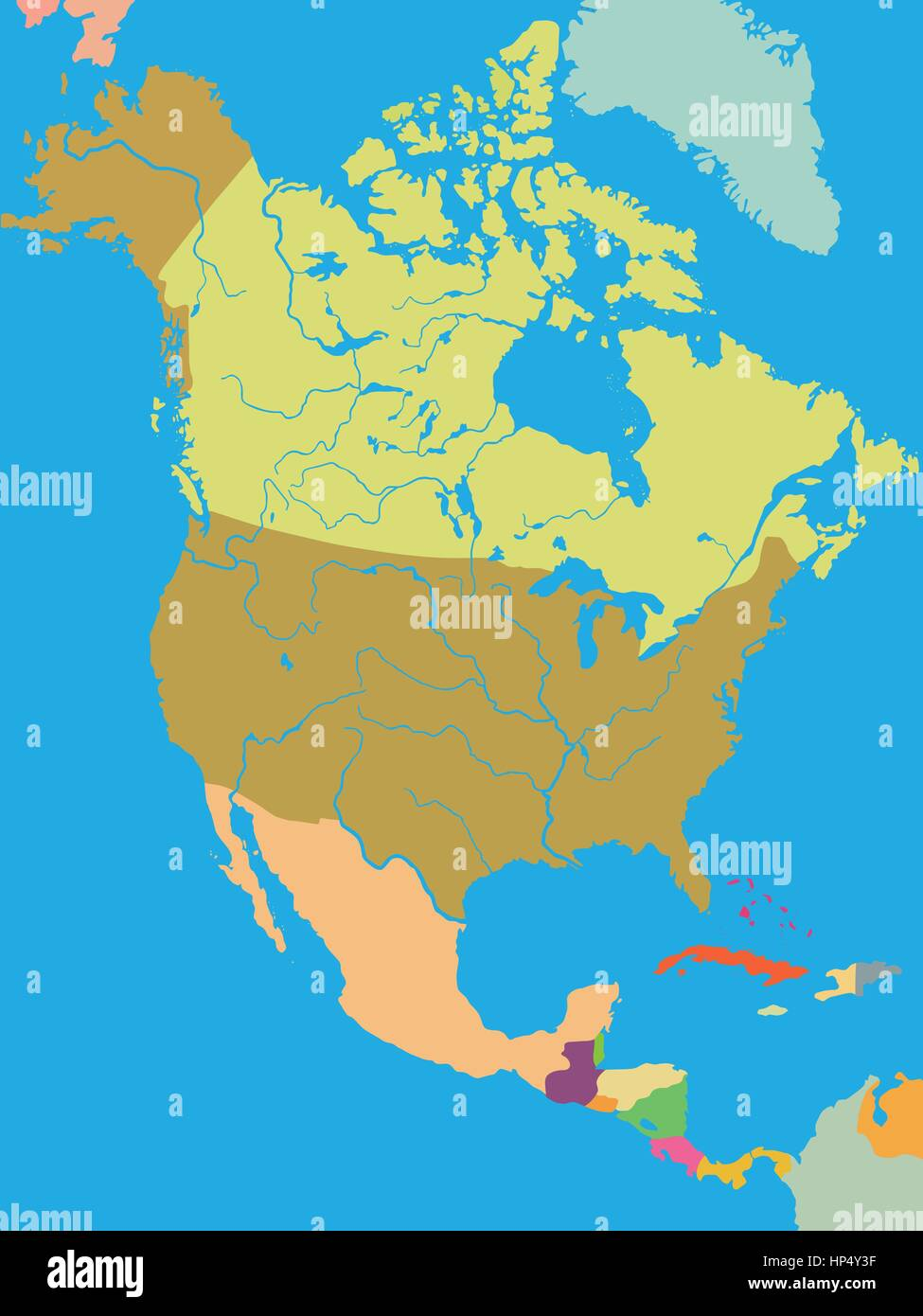 Color political map of North America with borders of countries Stock ...