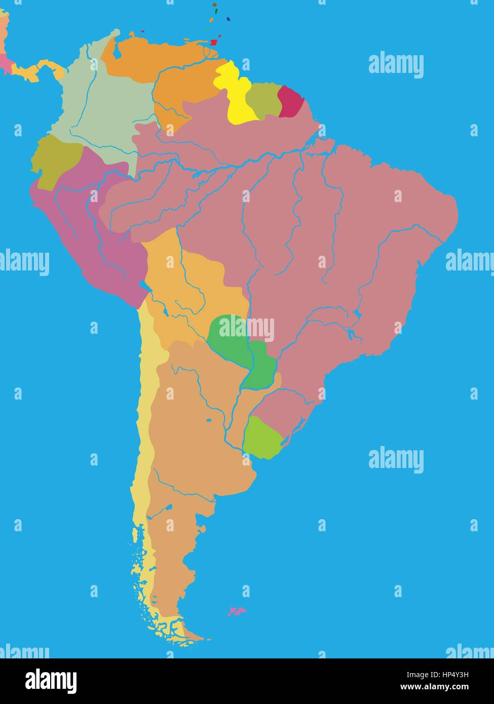 Color political map of South America with borders of countries Stock ...