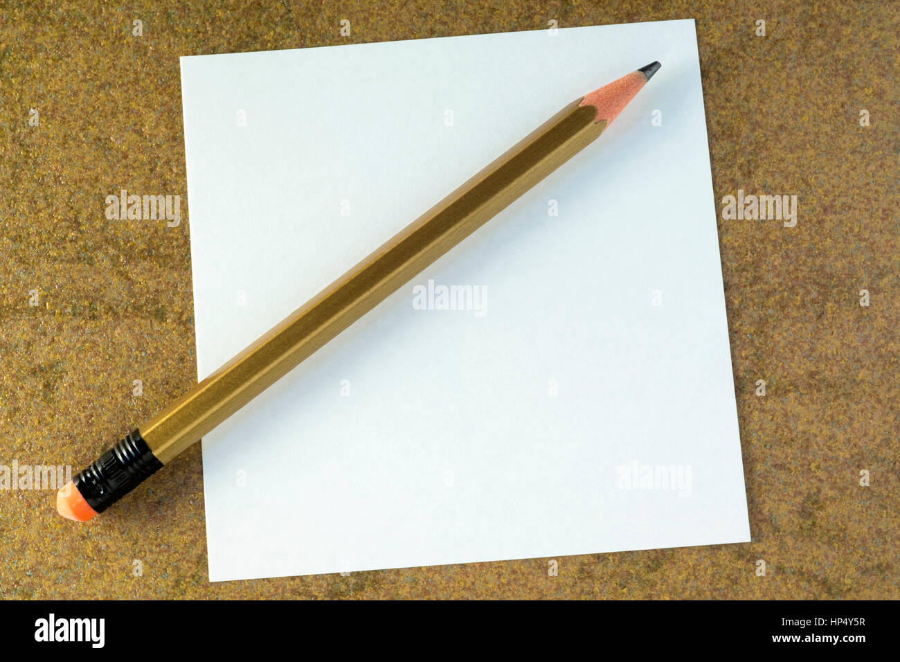 Plane pencil and empty white sheet of paper - Stock Image