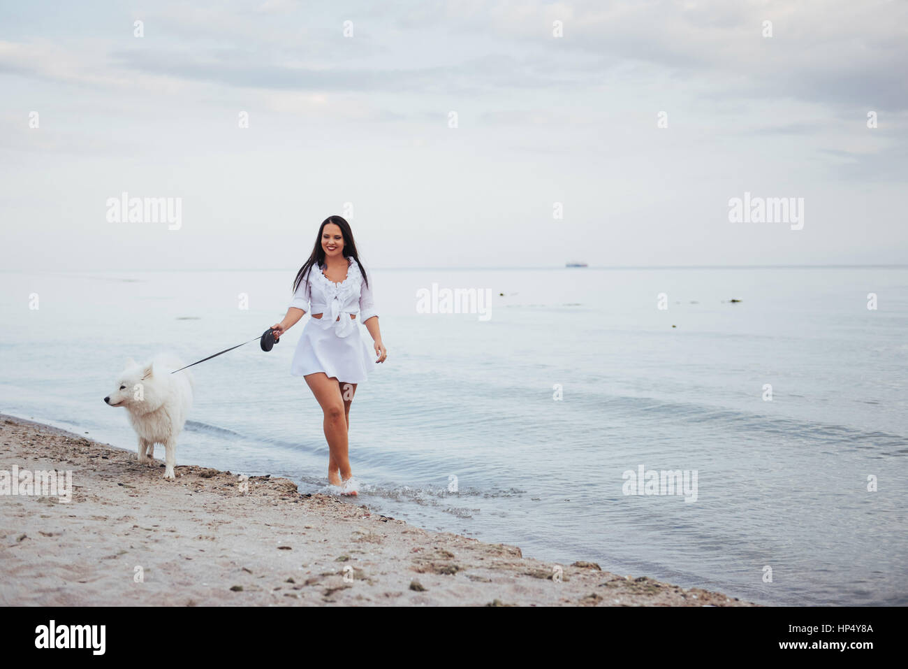 Beautiful brunette woman on the beach with a dog walking - Stock Image