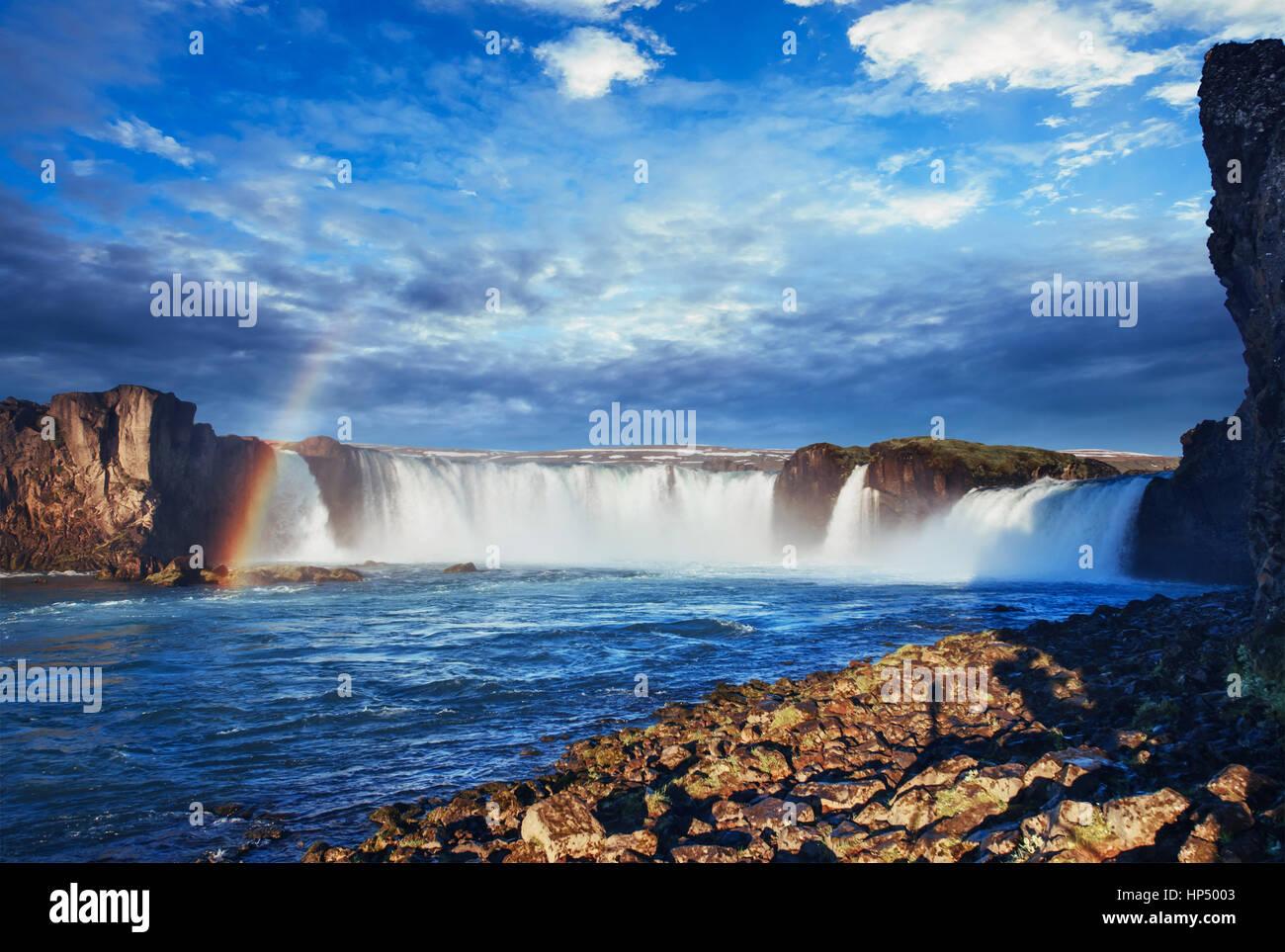 Godafoss waterfall at sunset. Beauty world. Iceland, Europe - Stock Image