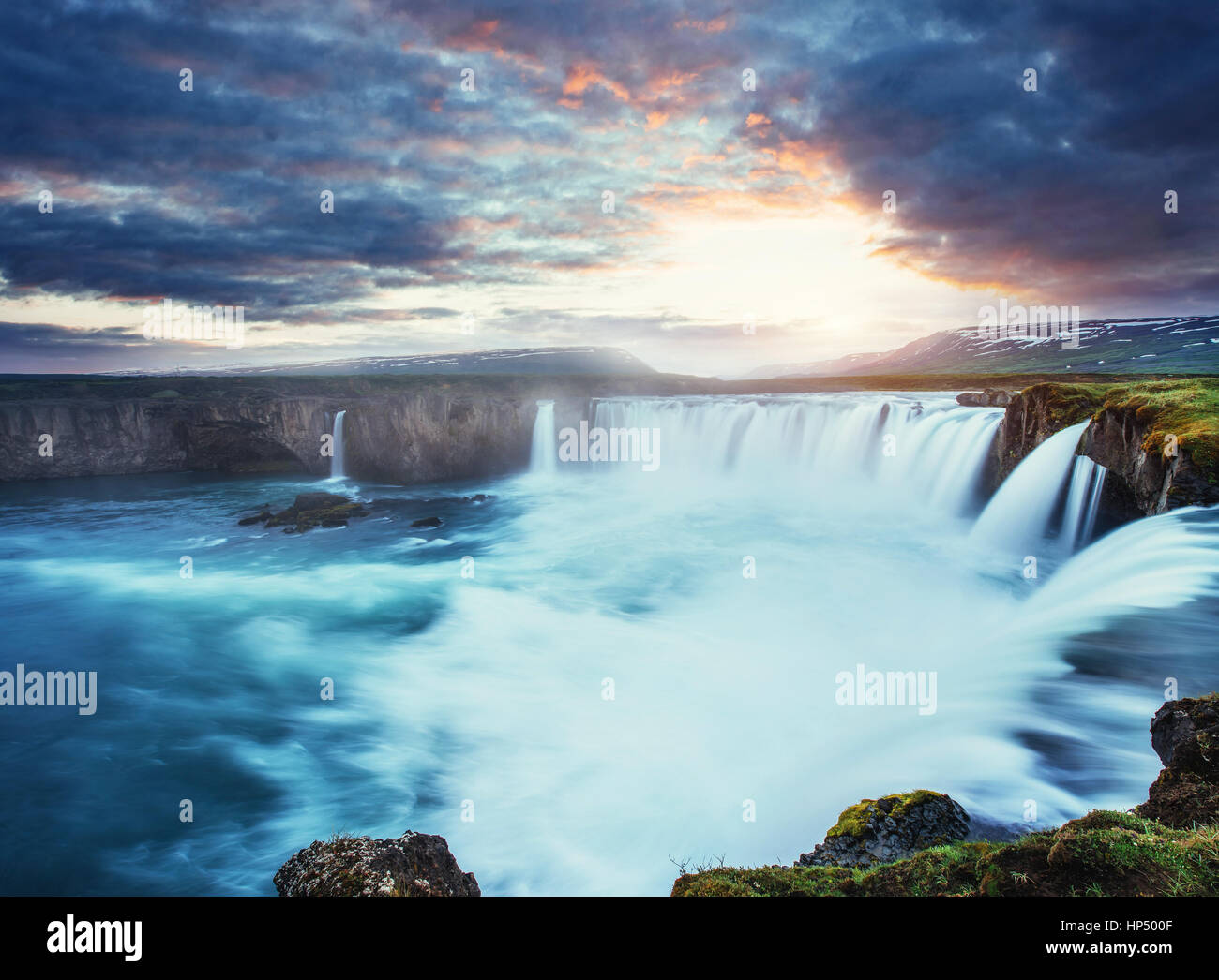 Godafoss waterfall at sunset. Beauty world. Iceland, Europe - Stock Image