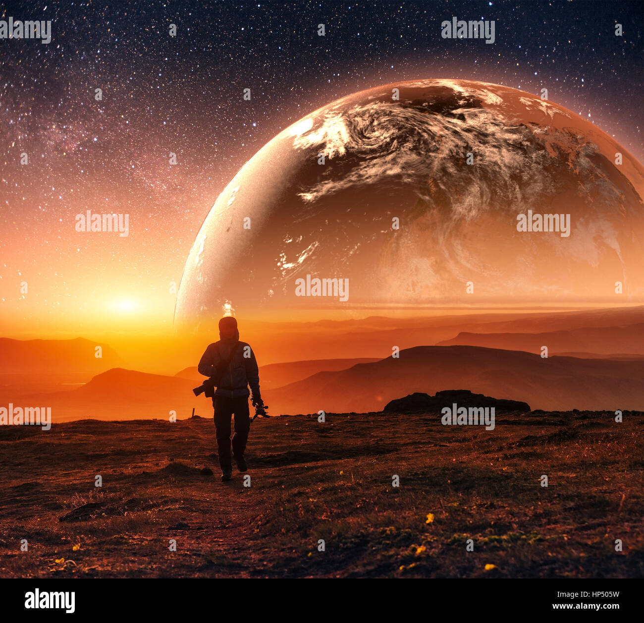 Realistic 3D Earth Lyustration. Courtesy of NASA. Man in Space.  - Stock Image