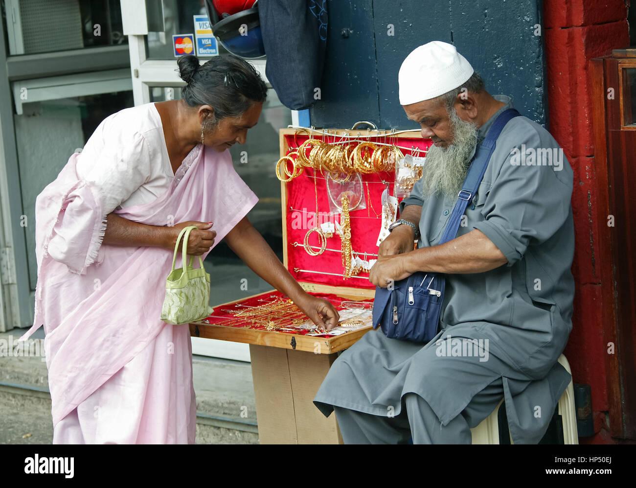 Port Louis, street scene,Mauritius, Port Louis, street vendor - Stock Image