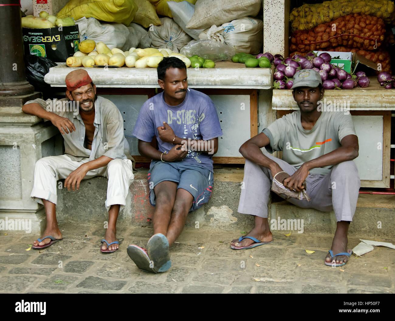 Port Louis, street scene, street scene, street vendor in the market, potatoes, onions, - Stock Image