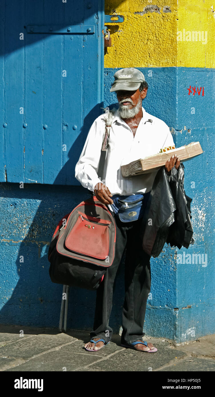 Port Louis, street scene, street market, central market, Mauritius, Port Louis, street vendor - Stock Image