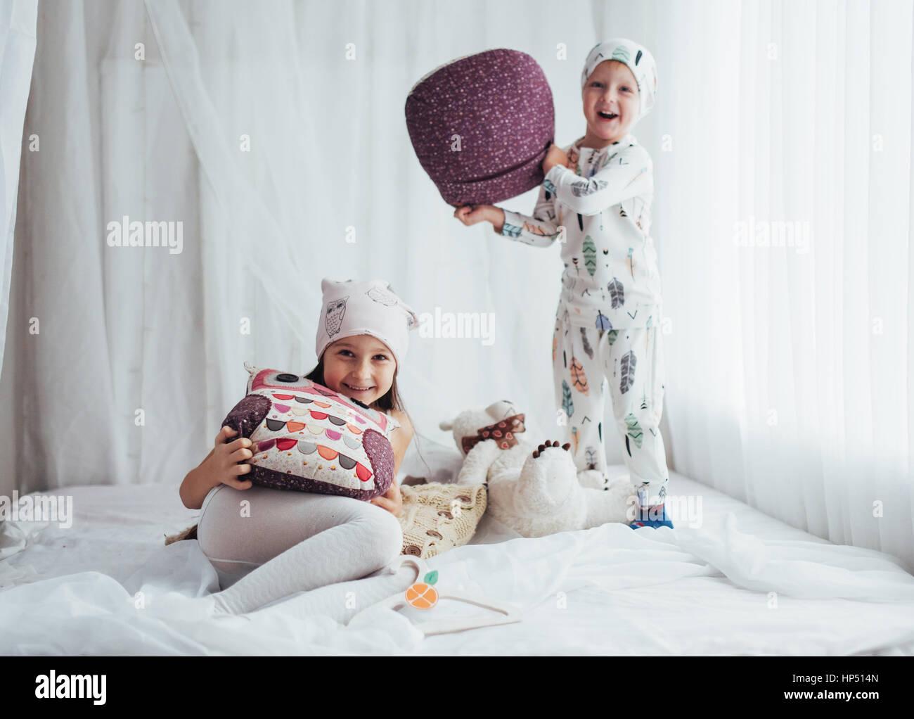 Children in pajamas - Stock Image