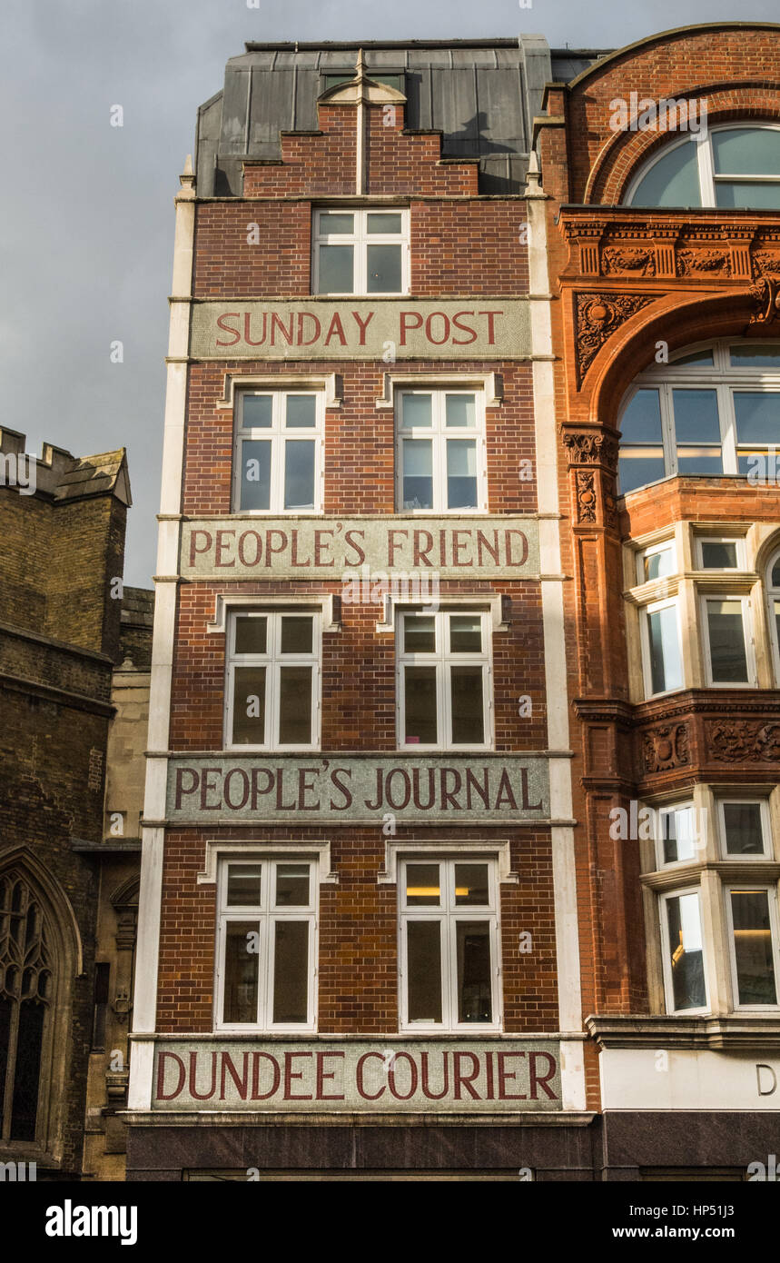 Dundee-based Sunday Post and People's Friend offices on Fleet Street, London, UK. - Stock Image