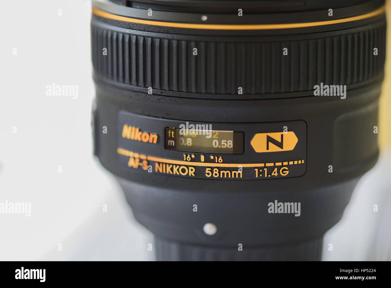 Nikon Nikkor AF-S 58mm f1.4G lens. - Stock Image