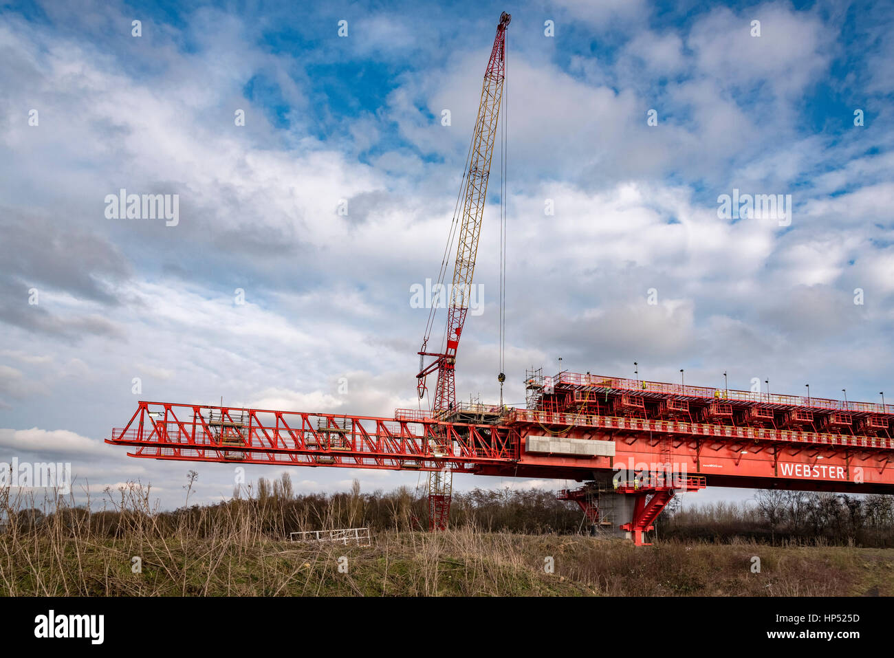 Runcorn.Cheshire. North West England. Friday 17th February 2017. The new Gateway bridge over the river Mersey takes - Stock Image
