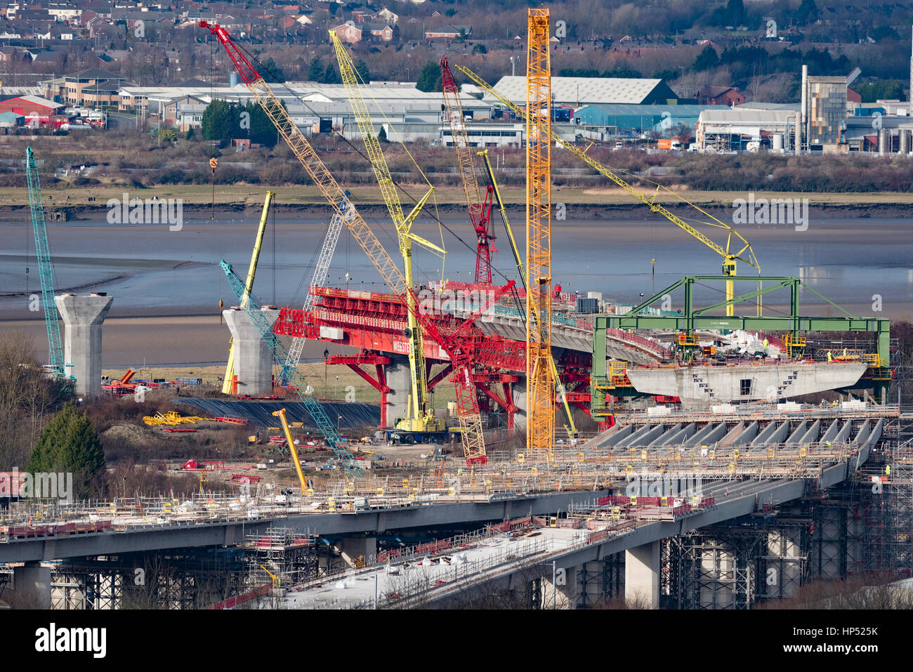 Runcorn.Cheshire. North West England. Friday 17th February 2017. The new Gateway bridge over the river Mersey takes Stock Photo