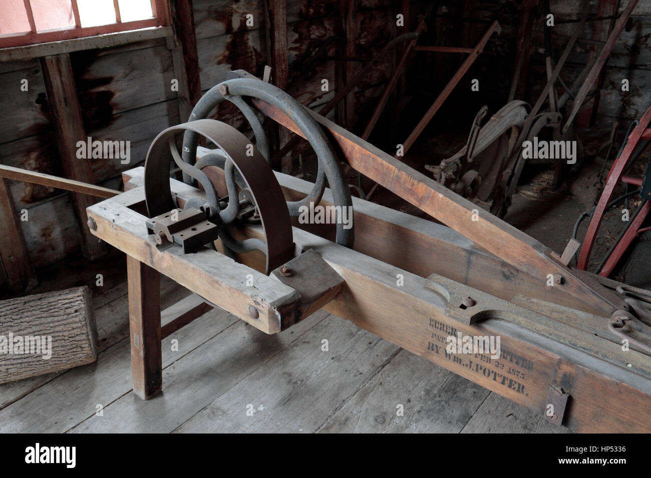 The Eureka corn cutter by WJ Potter on display n the Hancock Shaker Village, Hancock, Massachusetts, United States. - Stock Image