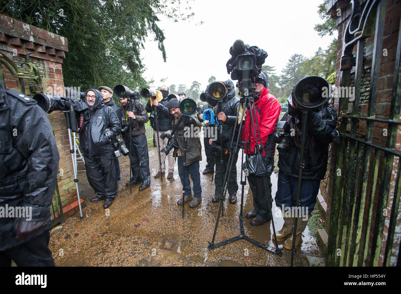 Press photographers at Sandringham Estate,Norfolk,waiting to get a picture of The Queen - Stock Image