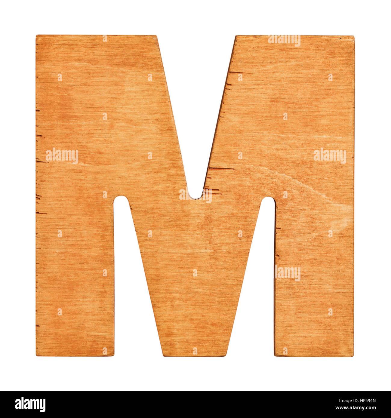 old wooden letter m on wooden background vintage wooden letter one of full alphabet wooden set