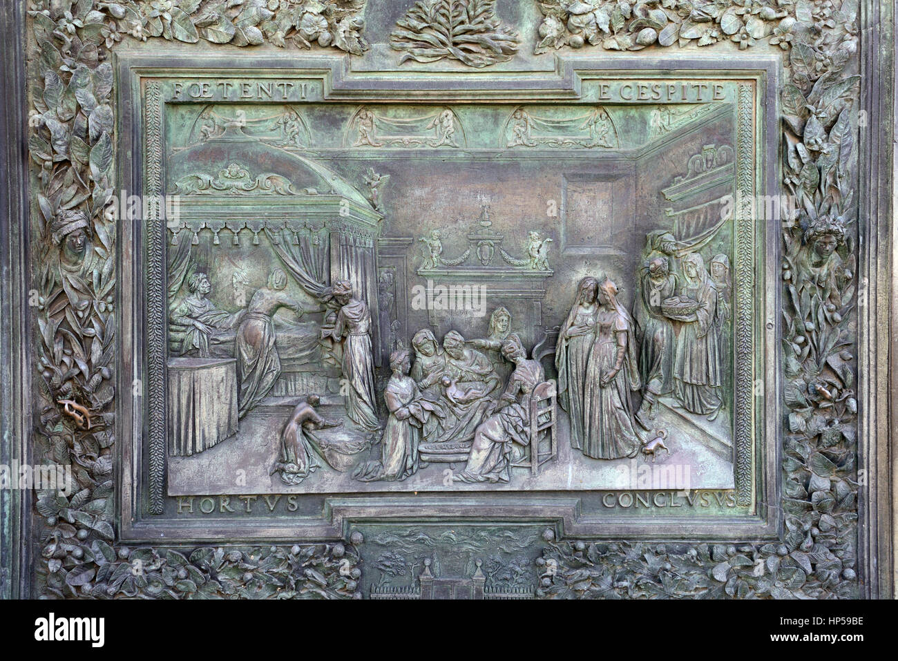 Brass, relief, Door decoration, The Baptistery, Duomo, medieval cathedral, Archdiocese of Pisa, Santa Maria Assunta, Stock Photo