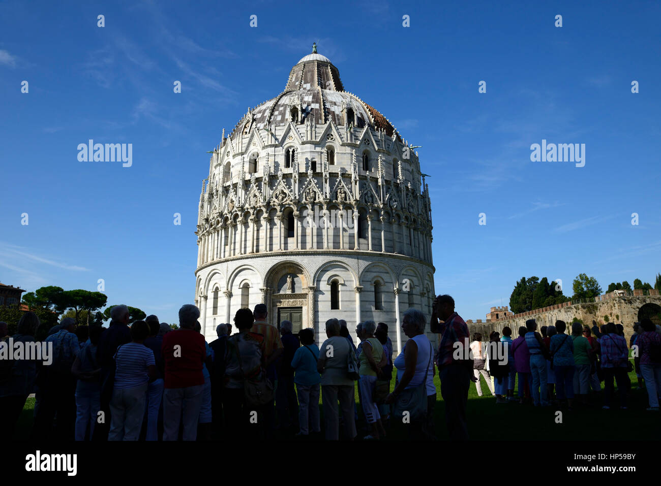 tourists, tourist, queue, queuing, line, view viewing, The Baptistery, Duomo, medieval cathedral, Archdiocese of Stock Photo
