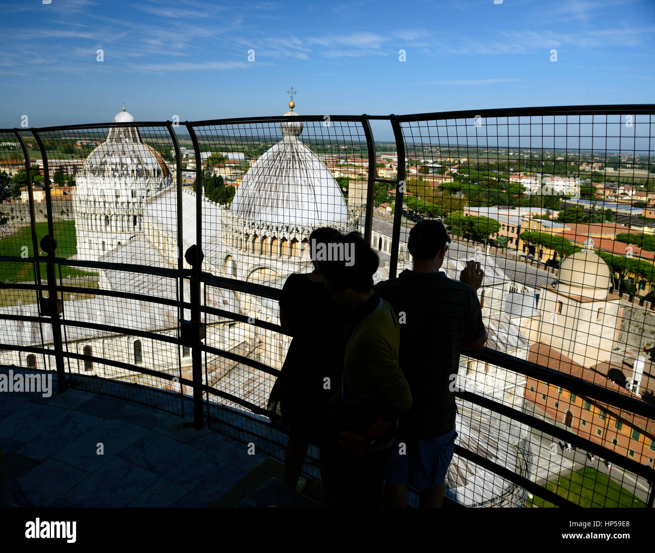 leaning Tower of Pisa, tourists, silhouette, silhouetted, couple, tourism, view, viewing, viewpoint, from, The Baptistery, Stock Photo