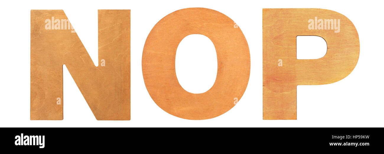 Old wooden letters NOP - Stock Image