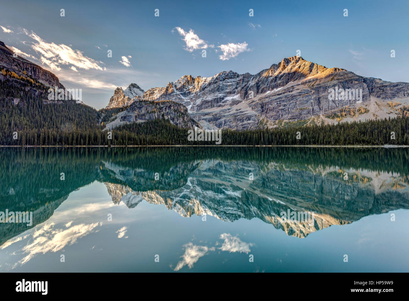 Calm and quiet morning in the wilderness of the stunning Lake Ohara in the heart of the Canadian Rockies, Yoho National Stock Photo