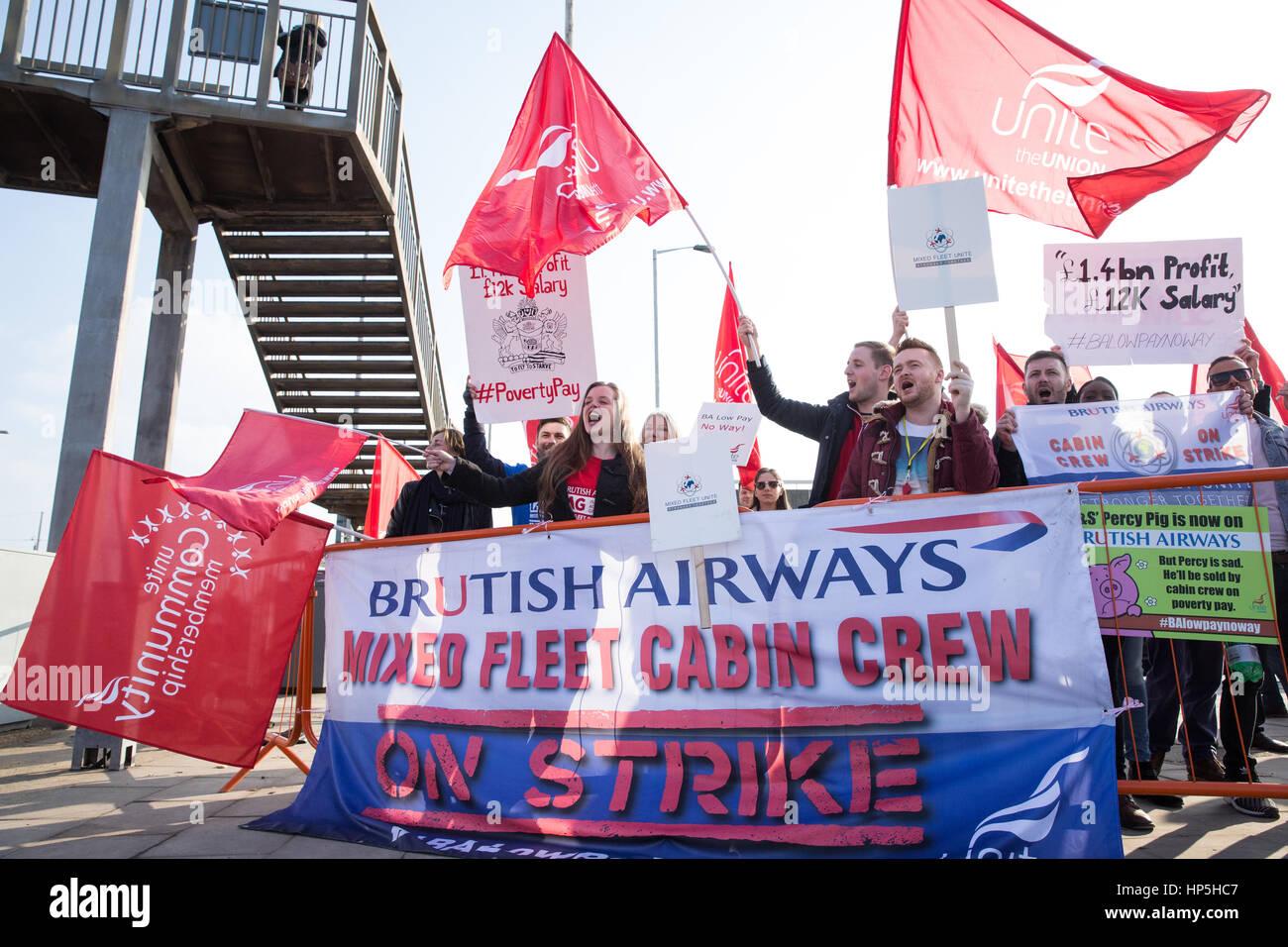 London, UK  18th February, 2017  Striking British Airways
