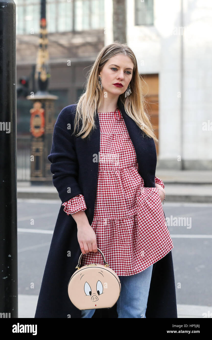 The Strand. London. UK 18 Feb 2017 - Street fashion outside an Autumn/Winter 2017 show at 180 The Strand, London, Stock Photo