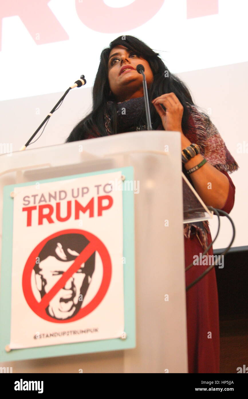 London, UK, 18th February 2017.Anti-racism campaigner Maz Saleem addresses the Stand up to Trump Summit. A number Stock Photo