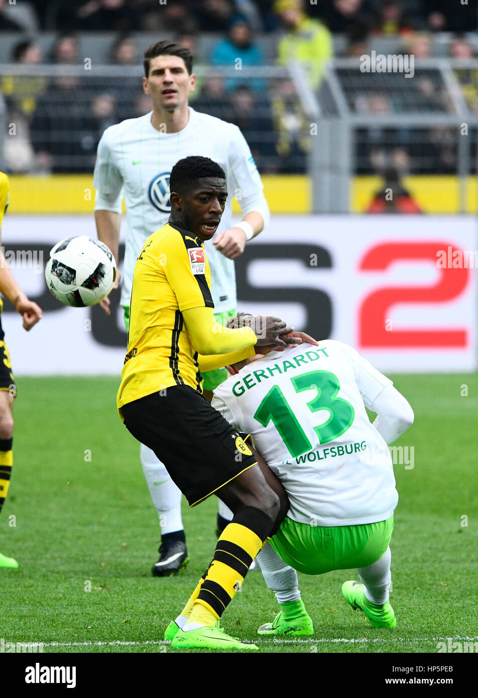 Signal-Iduna Park, Dortmund, Germany. 18th February, 2017. German football Bundesliga Season 2016/17, matchday 21, - Stock Image