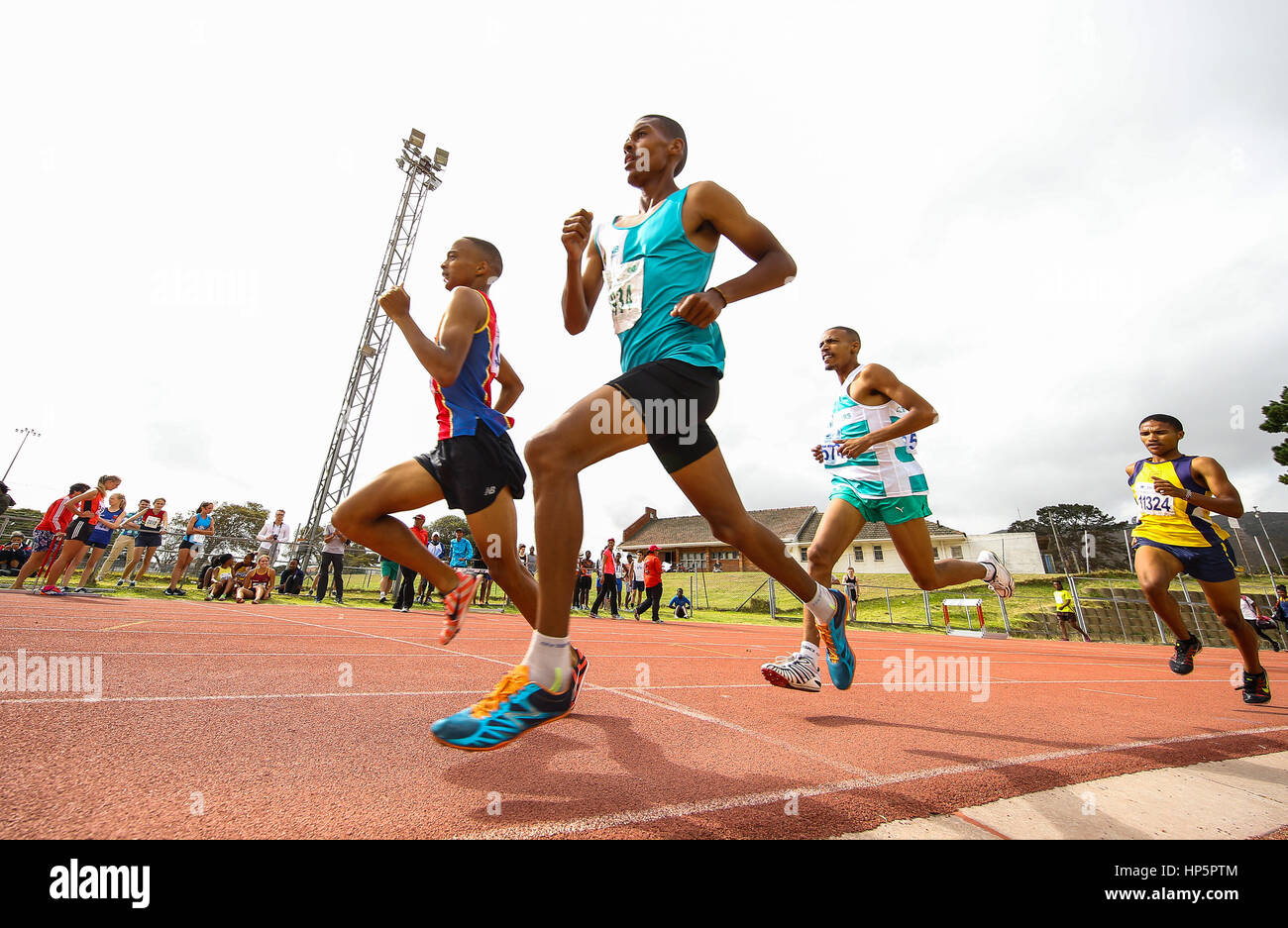 Cape Town, South Africa. 18th February, 2017. athletes in the mens 1500m during the second WP Athletics League track - Stock Image