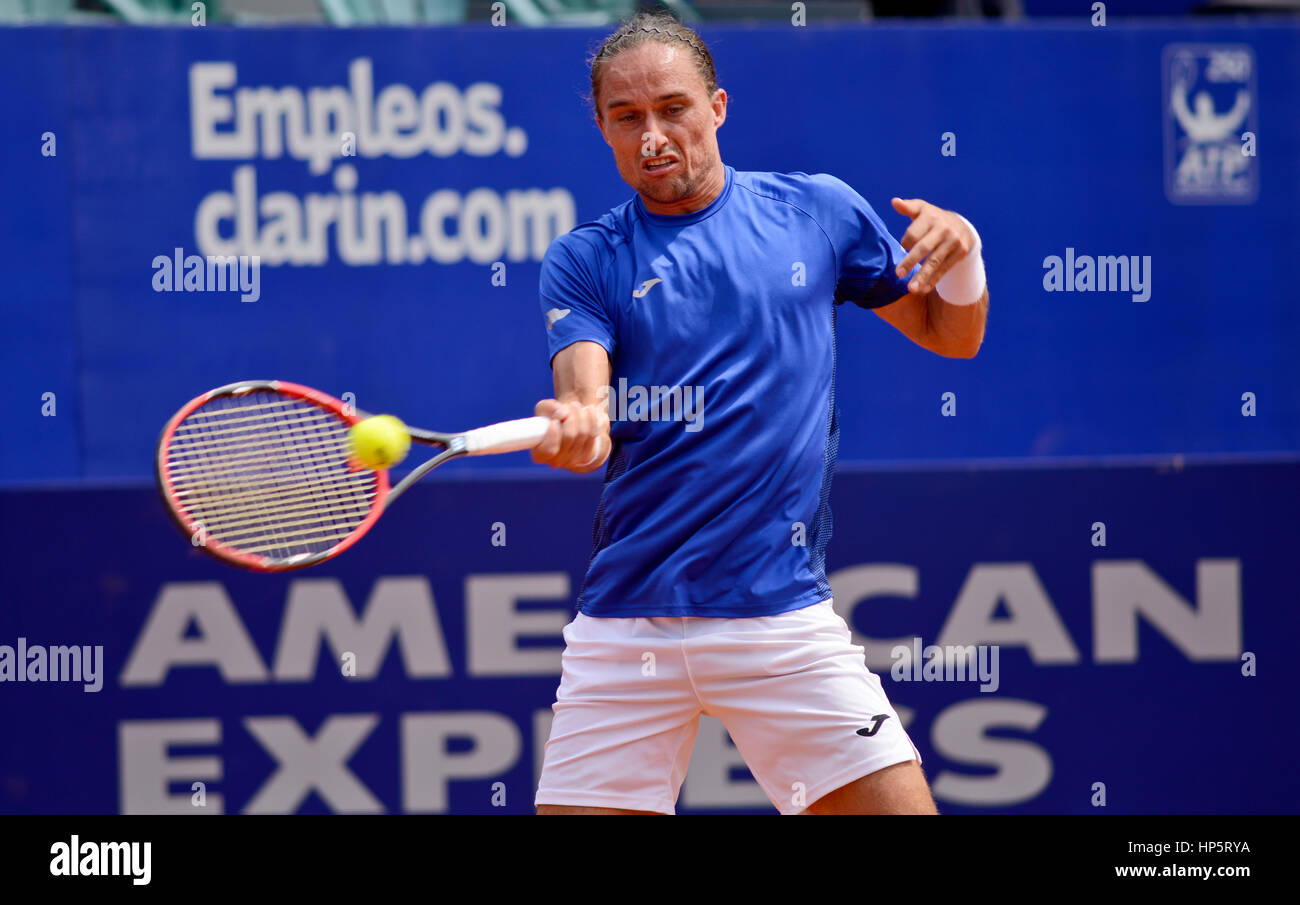Alexandr Dolgopolov (Ukraine) hits the ball during a match at the Argentina Open - Stock Image
