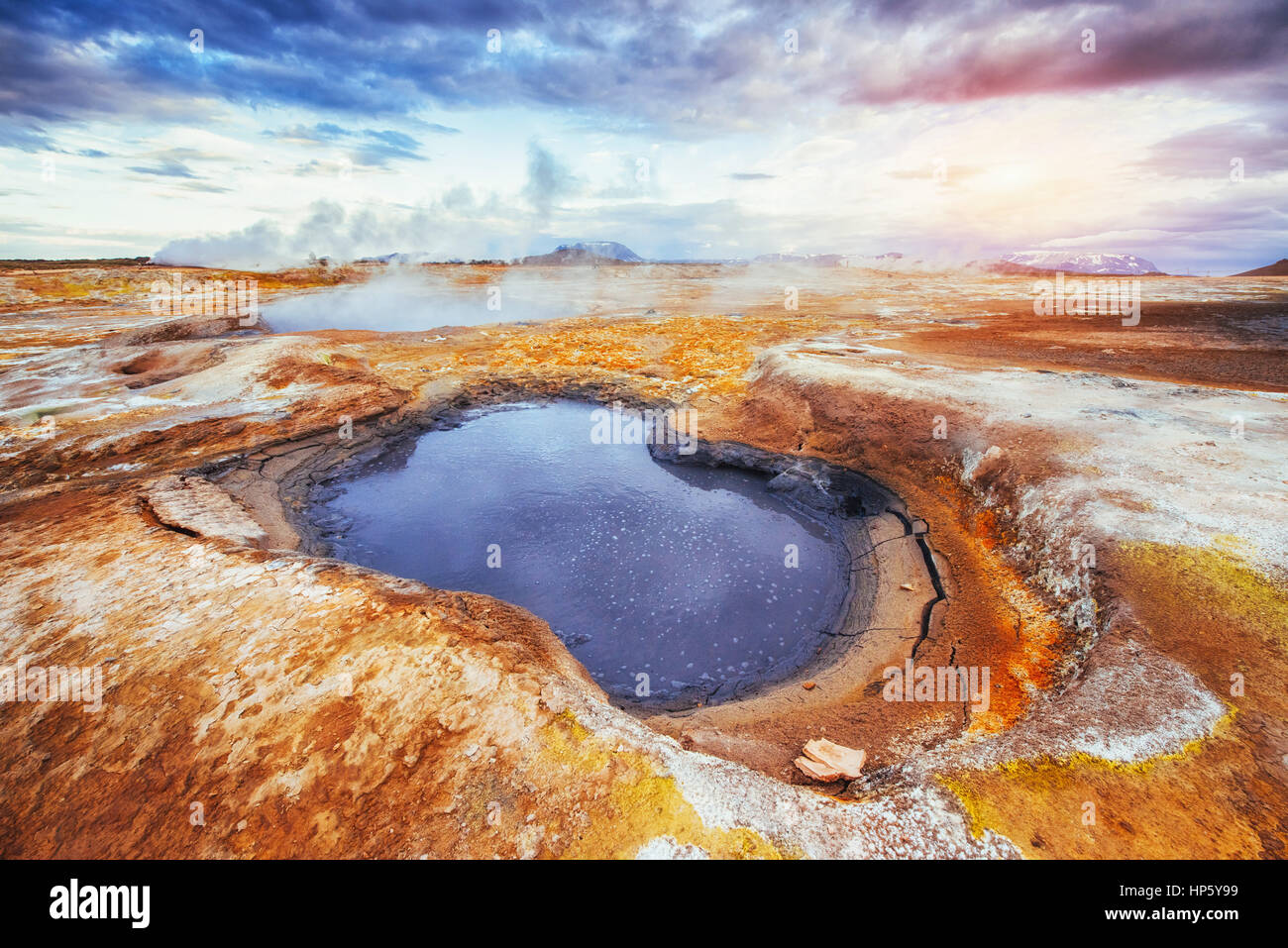 Fumarole field in Namafjall Iceland. The picturesque landscapes forests. - Stock Image