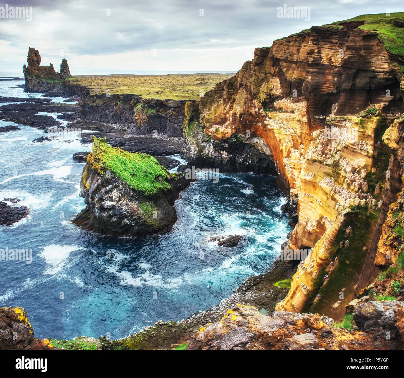 Scenic view of coastline at Arnarstapi Iceland - Stock Image