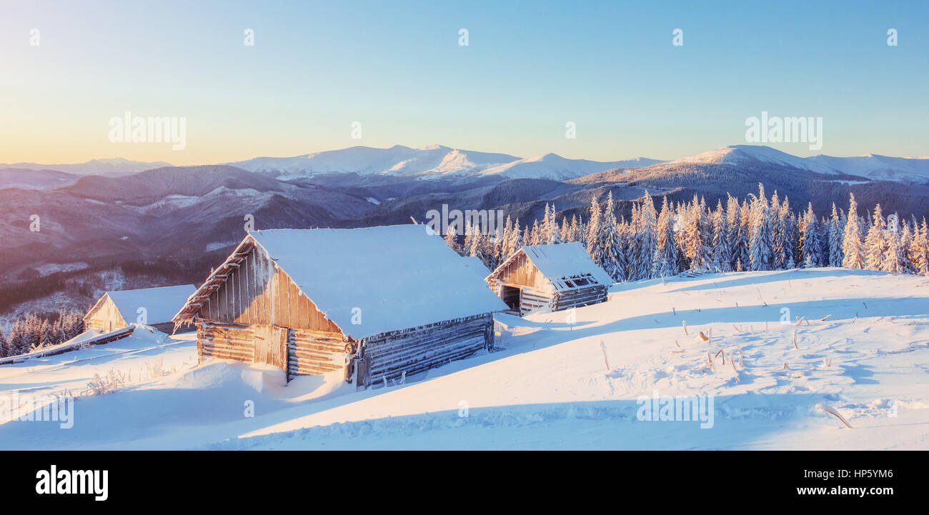 Fantastic winter landscape, the steps that lead to the cabin. Ma - Stock Image