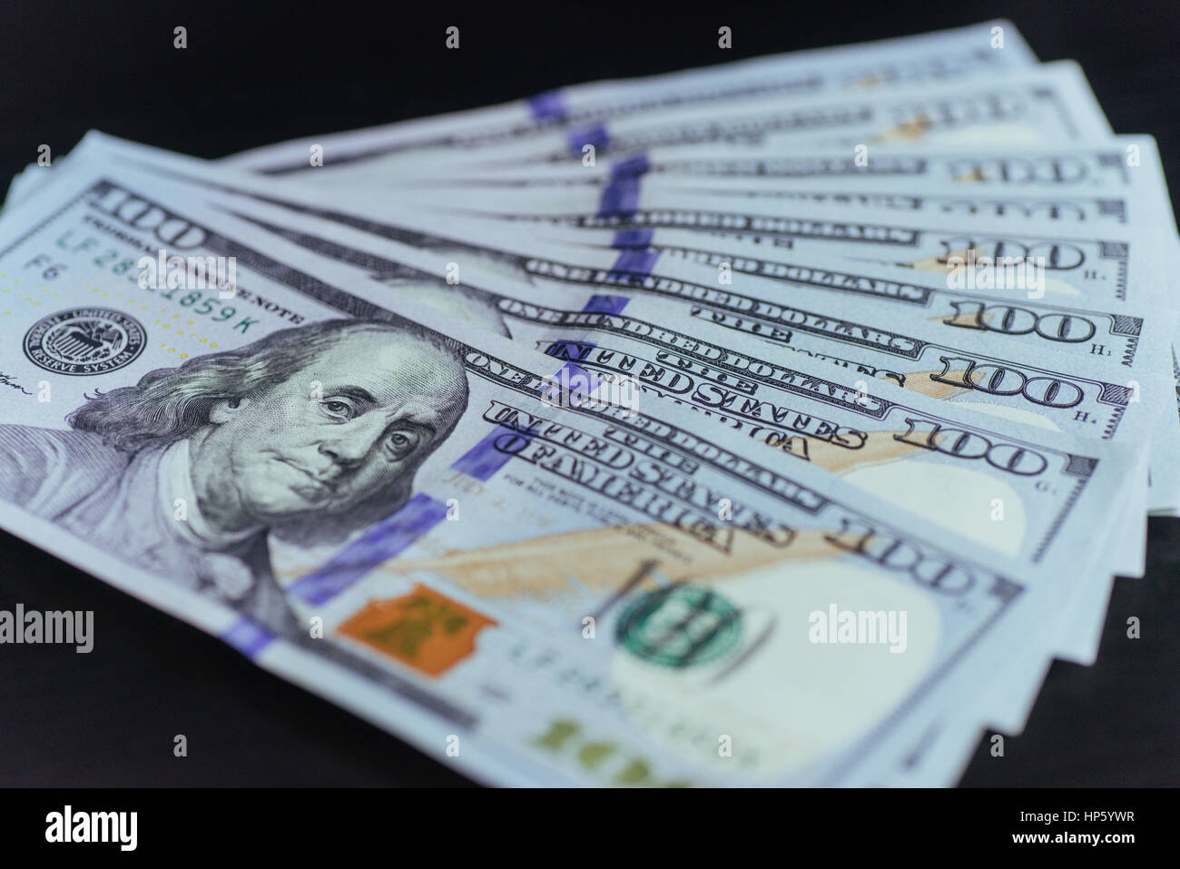 American Dollars. One Hundred Dollar Banknotes, 100 . - Stock Image