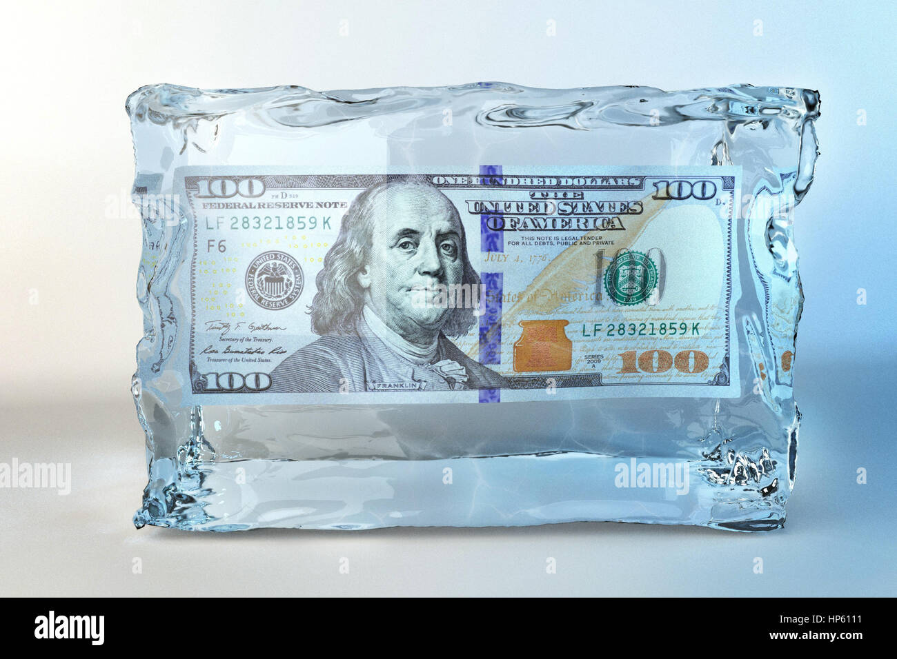 illustration of ice cube with one hundred dollar - Stock Image