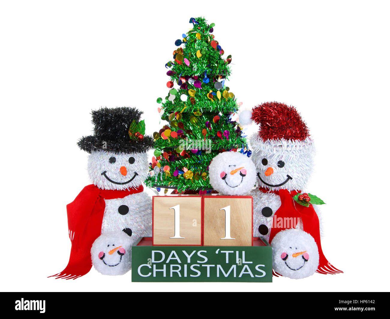 How Many Days Until Christmas Eve.11 Days Until Christmas Light Beech Wood Blocks With Red