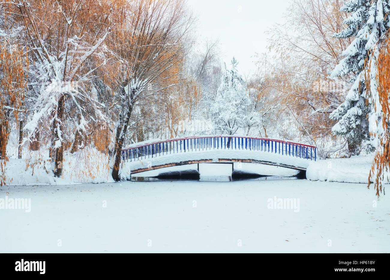 bridge over the river in winter. - Stock Image