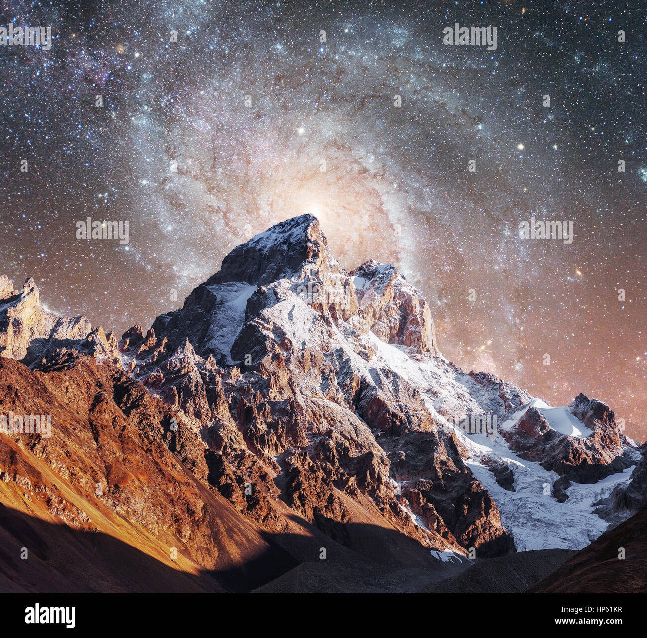 Fantastic starry sky. Courtesy of NASA. Autumn landscape and sno - Stock Image