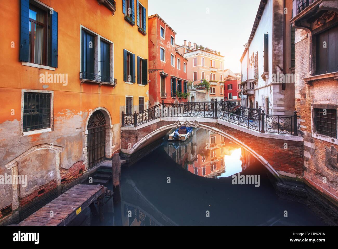 Gondolas on canal in Venice, Italy - Stock Image