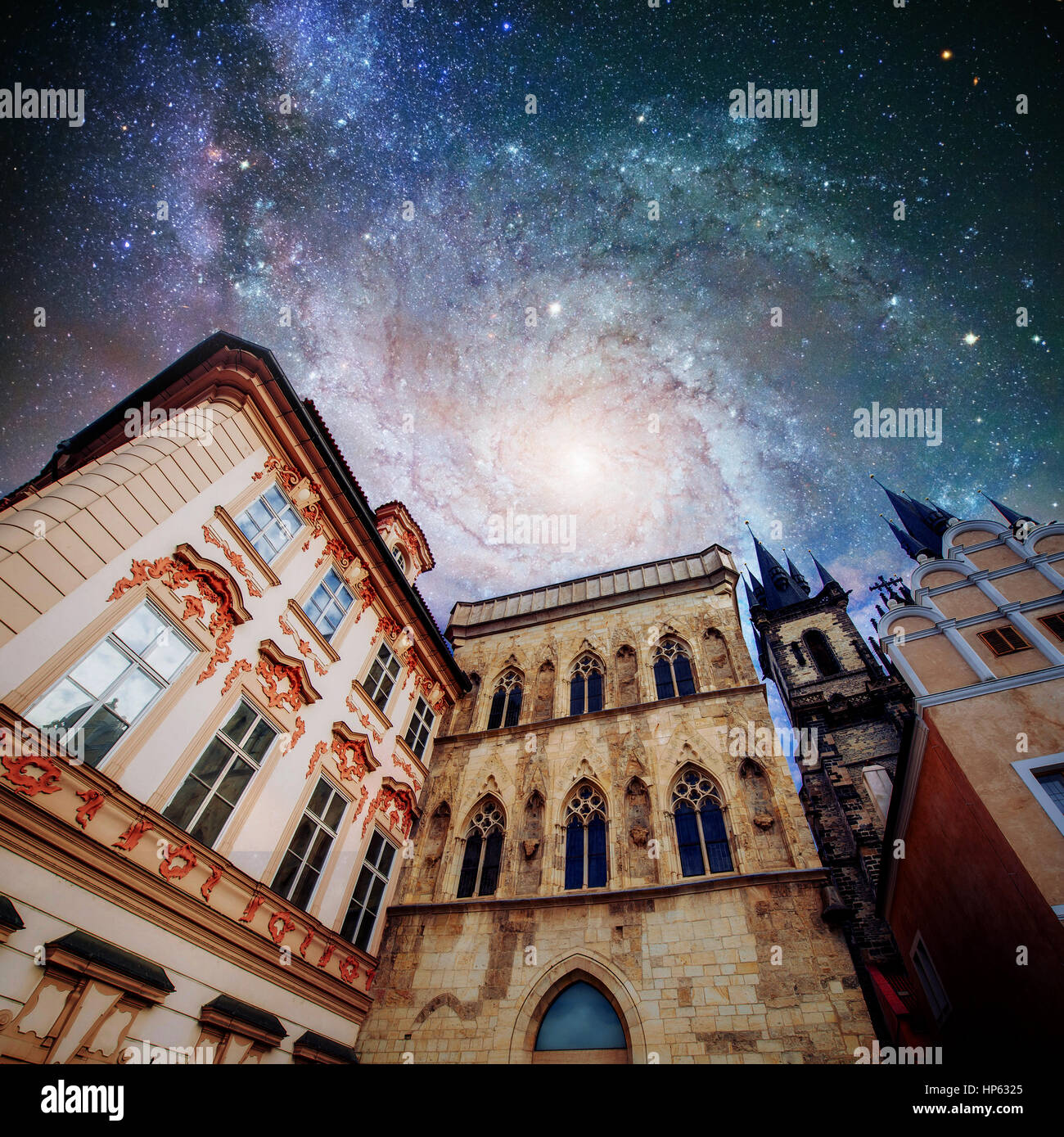 Fantastic starry sky and the milky way. Beautiful houses Czech R - Stock Image