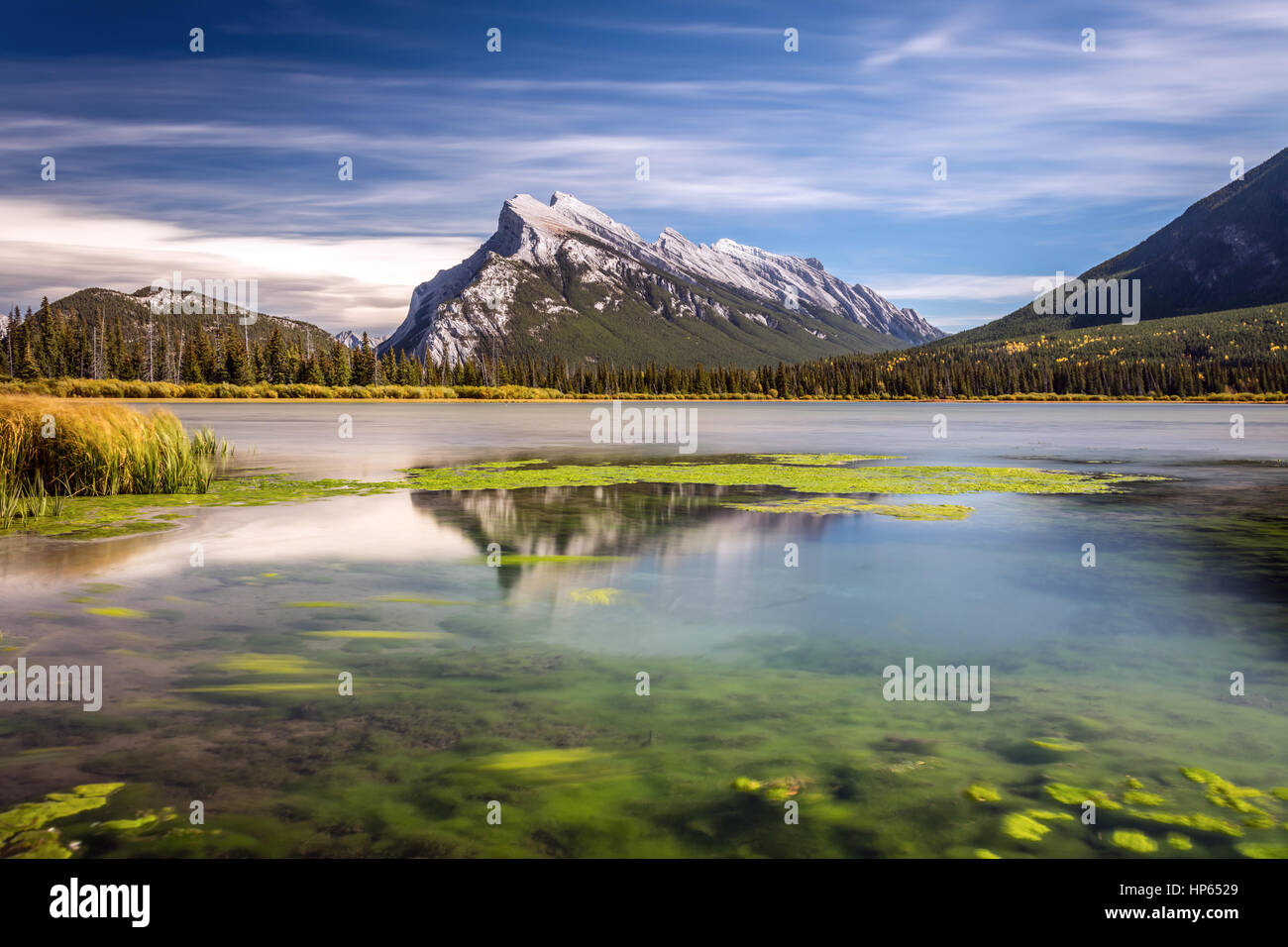 Long exposure of Mount Rundle with reflection from Second Vermilion Lake in Banff National Park, Alberta, Canada. Stock Photo