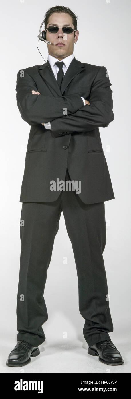 Sicherheitsmann, Security, verschraenkte Arme (model-released) Stock Photo